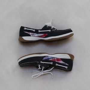 Navy Blue and Plaid Suede Sperrys